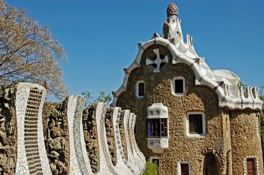 House in the park Gueell, Architect Antoni Gaudi, Barcelona, Catalonia, Spain : Stock Photo