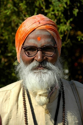 Portrait Indian man with turban glasses tikka and braided beard Sawai Madhopur Rajasthan India : Stock Photo
