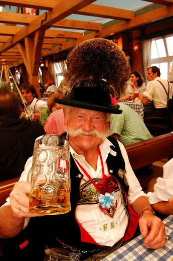 Bavarian man in traditional costume, Wies´n, October fest, Munich, Bavaria, Germany, Europe : Stock Photo