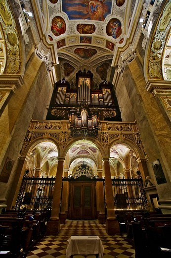 Baroque interior of the Collegiate Church in Klosterneuburg, Lower Austria, Austria, Europe : Stock Photo