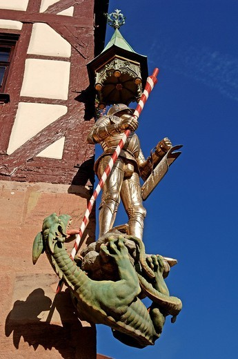 Stock Photo: 1848-88786 Saint George figure with dragon on a half_timber house, Nuremberg, Bavaria, Germany, Europe