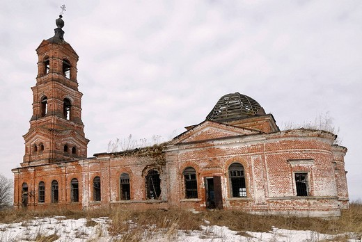 Stock Photo: 1848-88828 Russian Orthodox country church, destroyed during Soviet period, Vladimir city region, Russia