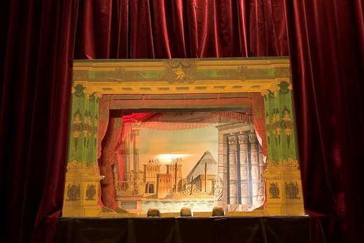 Proszenium arch of a paper theater, Castle Burg, Schloss Burg, Solingen, Bergisches Land, NRW, Germany : Stock Photo
