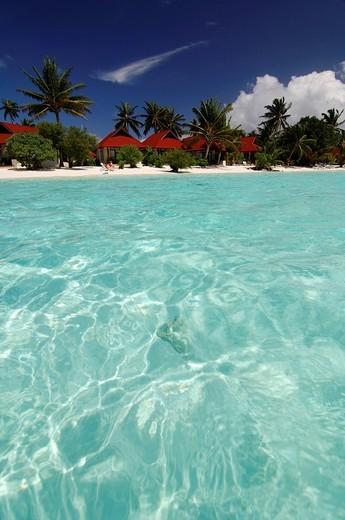 Stock Photo: 1848-8967 Beach bungalows in Kurumba Resort, The Maldives, Indian Ocean