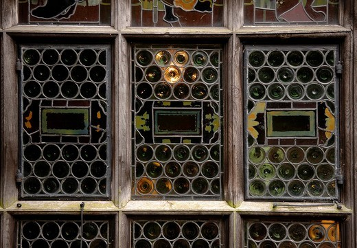 Ornate windows at Wightwick Manor near Birmingham, West Midlands, England, Great Britain, Europe : Stock Photo