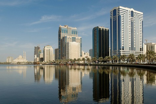 Skyline and corniche of Sharjah City, Emirate of Sharjah, United Arab Emirates, Middle East : Stock Photo