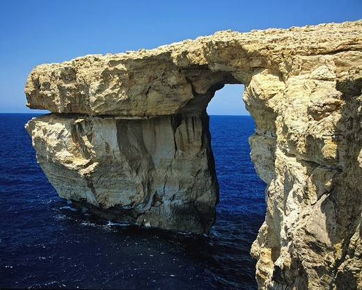 Stock Photo: 1848-90087 Azur Window, window rock along the west coast of Gozo, Zerka Gate, southwest coast, Dwejra Bay, Malta, Mediterranean