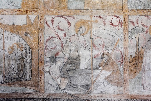 Late gothic frescoes in the old sacristy, 1423, St John´s Parish Church in Brendlorenzen, Neustadt a. d. Saale town, Rhoen_Grabfeld, Lower Franconia, Bavaria, Germany, Europe : Stock Photo