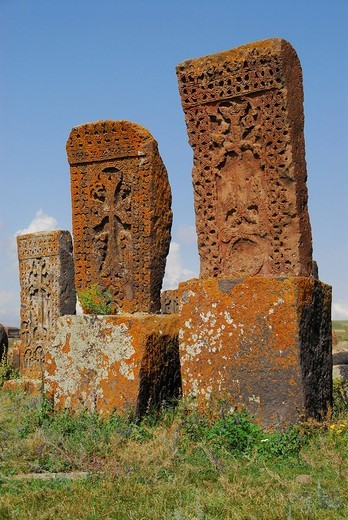 Graves at Noraduz Cemetery, Armenia, Asia : Stock Photo