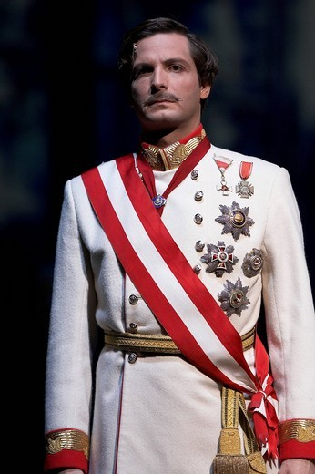 Markus Pol playing the emperor Franz Joseph in the Elisabeth Musical, at the premier in the 11 Theatre in Zurich, Switzerland : Stock Photo