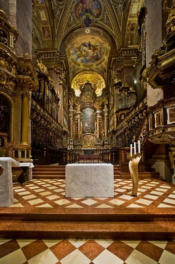 Baroque altar in the Collegiate Church in Klosterneuburg, Lower Austria, Austria, Europe : Stock Photo