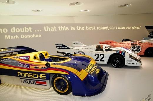 From front, Porsche 917/30 Spyder, 22 Porsche 917 KH Coupe, 23 Porsche 917/20 Coupe, New Porsche Museum, Stuttgart, Baden_Wuerttemberg, Germany, Europe : Stock Photo