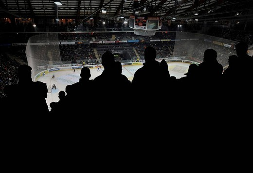 Spectators in the PostFinance Arena of SC Bern, Switzerland, Europe : Stock Photo