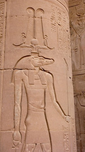 Temple reliefs and hieroglyphs, Horus Temple, Edfu, Egypt, Africa : Stock Photo