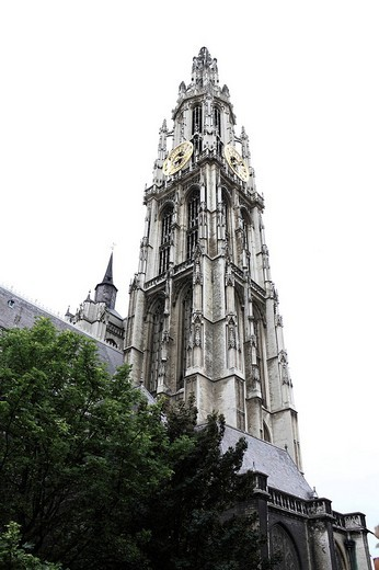Stock Photo: 1848-91272 Bell tower of the Gothic Cathedral of Our Lady in Antwerp, Onze_Lieve_Vrouwekathedraal, Antwerp, Flanders, Belgium, Europe