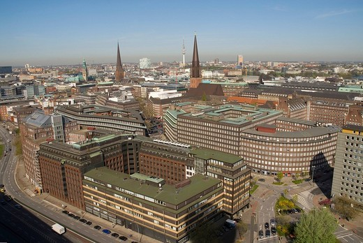 Arial view over the city centre of Hamburg. Building of Heinrich Bauer Publishung House, Sprinkenhof and Chilehaus lying in the foreground, Hamburg, Germany : Stock Photo