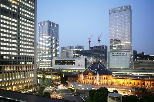 Tokyo Station area with its many new buildings, office towers, museums, hotels, shopping malls, and restaurants in Tokyo, Japan, Asia : Stock Photo