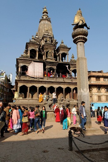 Krishna Mandir Temple, Durbar Square of Patan, Lalitpur, Kathmandu, Nepal : Stock Photo