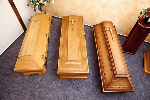 Stock Photo: 1848-92133 Wooden coffins on display in a showroom, show room