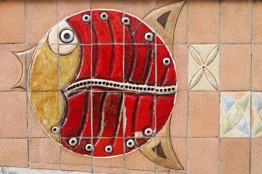 Fish mosaic, Aveiro, North Portugal, Portugal, Europe : Stock Photo
