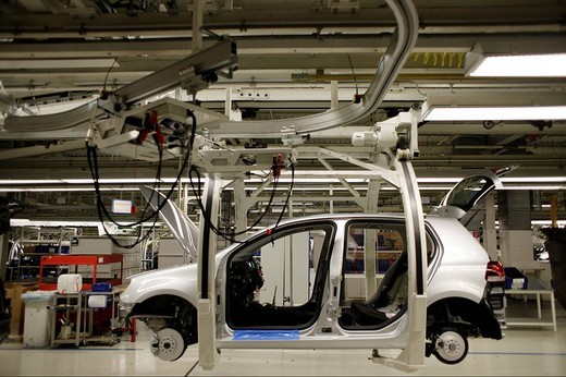 Golf car production, VW Werk Wolfsburg, VW car factory Wolfsburg, Lower Saxony, Germany, Europe : Stock Photo