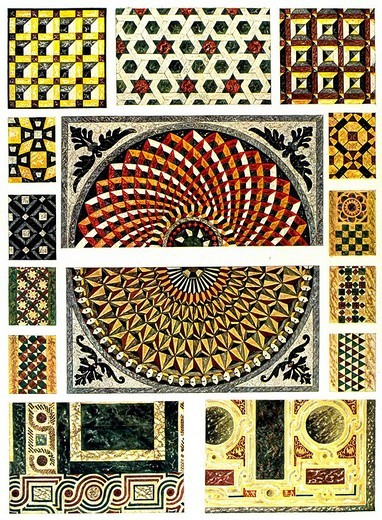 Byzantine marble mosaics for flooring, Middle Ages, Byzantine ornament : Stock Photo