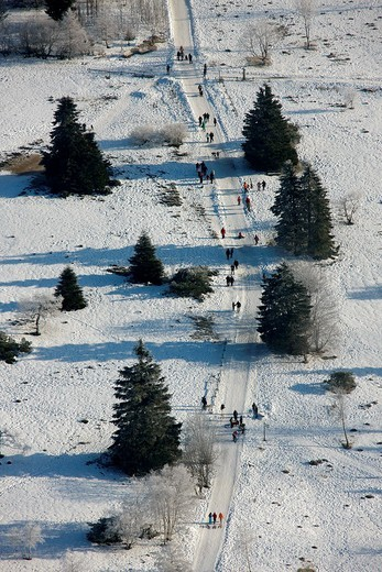 Stock Photo: 1848-92654 Aerial photo, going for a walk, Winterberg, Kahler Asten, Hochsauerlandkreis, North Rhine_Westphalia, Germany, Europe