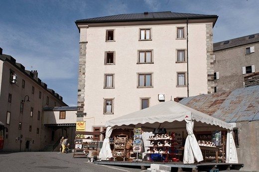 Hospiz San Bernardino hospice and souvenir stand, Great St Bernard Pass, Valais, Switzerland, : Stock Photo