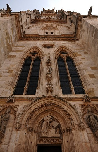 Stock Photo: 1848-92826 Restored tower of St. Peter´s Cathedral as seen from below, Regensburg, Upper Palatinate, Bavaria, Germany, Europe
