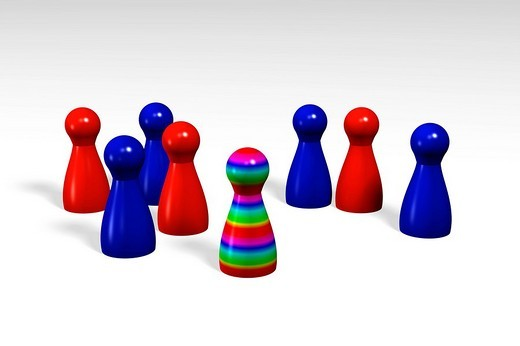Stock Photo: 1848-92847 Colourful striped game piece surrounded by blue and red game pieces, 3D Illustration