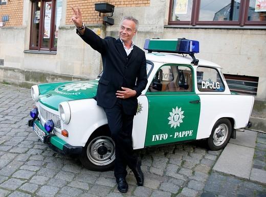 Klaus J. Behrendt, actor, Tatort, German TV crime series, in front of a police Trabant car : Stock Photo
