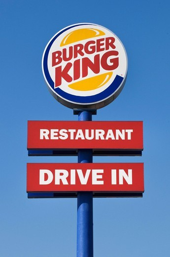 Sign with logo: Burger King, Restaurant, Drive In : Stock Photo
