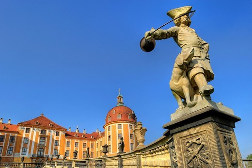 Stock Photo: 1848-9312 Baroque Moritzburg Castle, main portal with sandstone statue Piqueur hunter, and Amtsturm tower, Dresden, Free State of Saxony, Germany, Europe