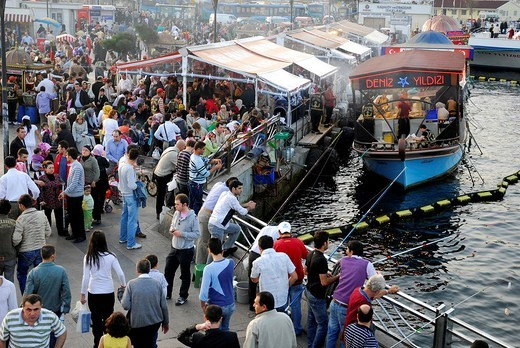 View from the Galata bridge, Galata Koepruesue, on the market and fish stall in the Eminoenue district, Golden Horn, Halic, Istanbul, Turkey : Stock Photo