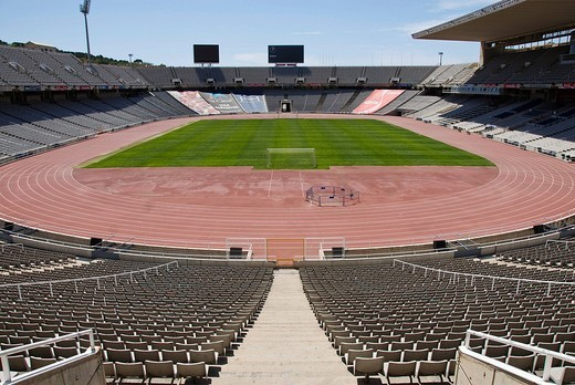 Stock Photo: 1848-94170 Olympic Stadium Estadi Olímpic Lluís Companys, formerly known as the Estadi Olímpic de Montjuïc, on Montjuïc hill, Barcelona, Spain, Europe