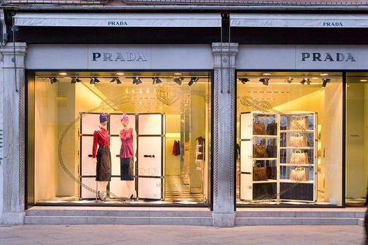 Window Display, Prada, Fashion store, Venice, Venezia, Italy, Europe : Stock Photo