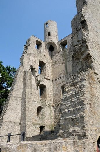 Stock Photo: 1848-94224 Hoher Schwarm Castle ruins, Saalfeld, Thuringia, Germany, Europe