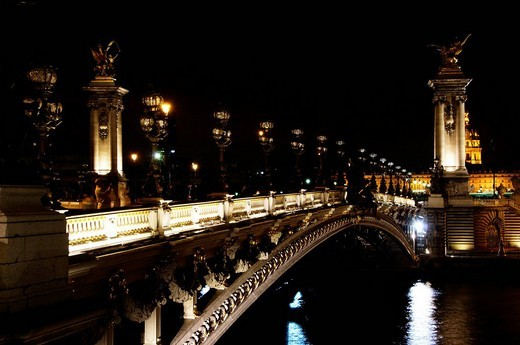 Stock Photo: 1848-94258 Alexandre III Bridge at night, Pont Alexandre III, Paris, France, Europe