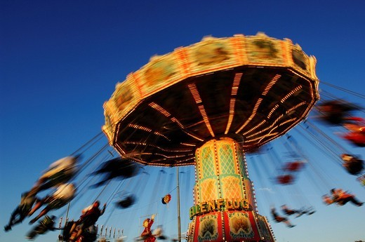 Chain carousel, Wies´n, Oktoberfest, Munich, Bavaria, Germany, Europe : Stock Photo