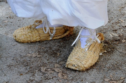 Typical rice straw shoes from former times, here worn by a procession participant, Kyoto, Japan, Asia : Stock Photo