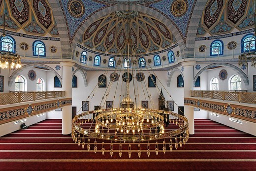 DITIB_Merkez_Mosque, interior view, newly built in the Ottoman style, one of the largest mosques in Germany, Duisburg_Marxloh, Ruhr Area, North Rhine_Westphalia, Germany, Europe : Stock Photo