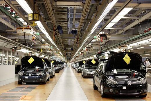 Stock Photo: 1848-94531 Golf car production, VW Werk Wolfsburg, VW car factory Wolfsburg, Lower Saxony, Germany, Europe