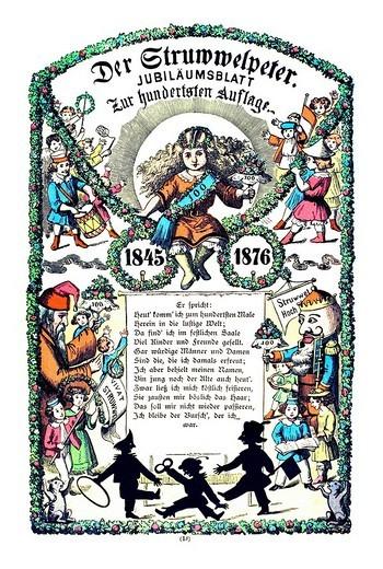 Book illustration, Der Struwwelpeter, Shaggy Peter, Dr. Heinrich Hoffmann, 1876, jubilee_page for the hundredth print run, 1845 _ 1876 : Stock Photo