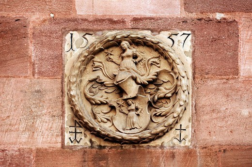 Stock Photo: 1848-9463 Coat of arms relief from 1557 of the Clarner family n the Fembohaus house, Nuremberg, Middle Franconia, Bavaria, Germany, Europe
