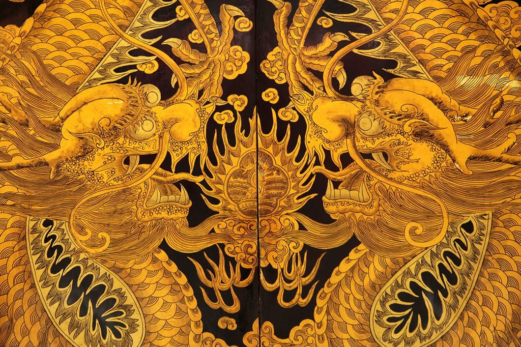 Stock Photo: 1848-94773 Dragon on the gate to the Thian Hock Keng temple in Chinatown in Singapore, Asia