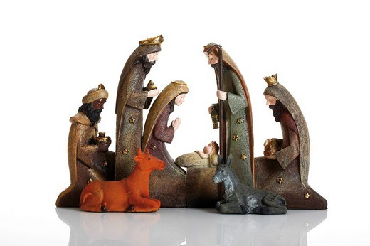 Nativity figures, Jesus, Mary, Joseph, three wise men, ox, donkey : Stock Photo