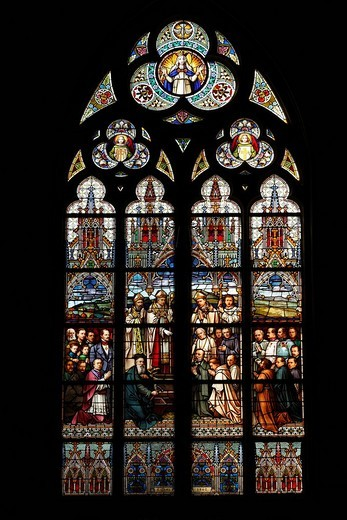 Church window of the Marian Dome, New Dome, Linz, Upper Austria, Austria, Europe : Stock Photo