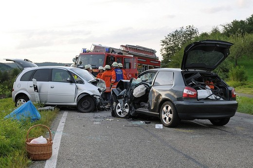 Couple was killed in traffic accident, head_on collision on the L 1184 road between Miedelsbach and Rudersberg, Baden_Wuerttemberg, Germany, Europe : Stock Photo