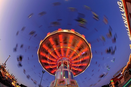 Night scene, fisheye shot, Chair_O_Planes or Swing Carousel, Cannstatt Festival, Stuttgart Beer Festival, Stuttgart, Baden_Wuerttemberg, Germany, Europe : Stock Photo