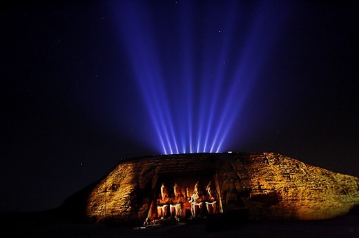 Sound and Light Show, Temple of Pharaoh Ramses II, Abu Simbel, Nubia, Egypt, Africa : Stock Photo